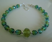Blue and Green Czech Beads and Sterling Silver Bracelet