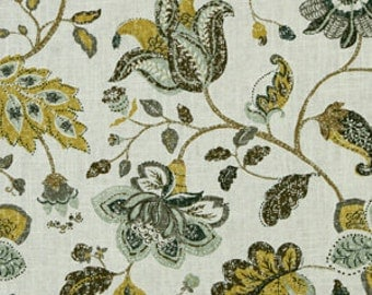 Yellow Floral Linen Fabric Modern Upholstery by the Yard