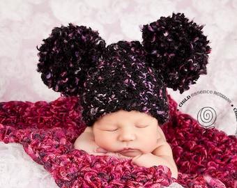 Newborn Baby Girl Hat Newborn Baby Hat Newborn Photo Prop Newborn Prop Newborn Photography Prop Pom Pom Baby Hat Black Baby Hat Hot Pink