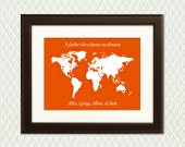 Fathers Day Gift for GRANDFATHERS - Personalized for Grandad ot Granddad. Hearts on a map for each child or grandchild