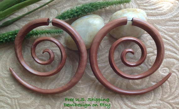 "Fake Gauge Earrings, ""XXL Spiral"" Naturally Organic, Saba Wood, Hand Carved, Tribal"