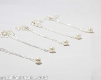Set of 5 Ivory Pearl Necklaces, Single Pearl Necklace,Bridal Jewellery, Bridesmaid Necklaces, Wedding Jewellery