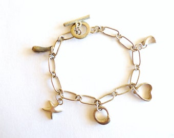 Dainty Silver Heart Star Charm Bracelet