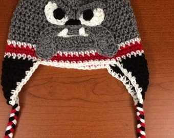 Crocheted Bulldog Hat with Ear Flaps