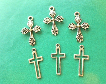 SEVEN Silvertone Cross Charms Two Styles Leaf & Openwork Cross Charms