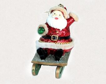 "Kurt Adler Christmas Ornament, ""Winter Sport Santa on a Sleigh"", Holiday Tree Decor"