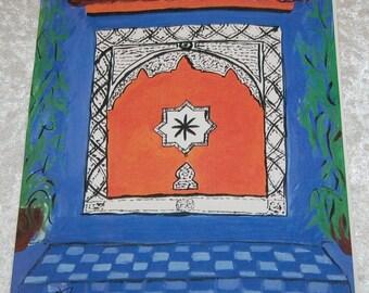 "Islamic Tiles Painting  - Art by Ahmad Abumraighi - ""Star Wall"""