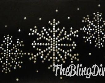 Snowflake with Sprays set of 3 Bling Iron On Rhinestone Transfer