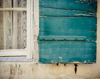 French Turquoise Shutter Photo - Provence Photography - Teal Window Frame - Rustic French Window - Vintage Print - Vintage Window - France