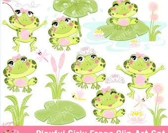 Playful Girly Frogs Clipart Set