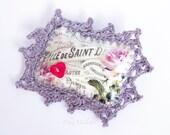 Purple brooch, Romantic brooch, Shabby chic brooch, Fabric brooch flower, Fabric brooch bouquet, retro jewellery