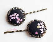 Black Bobby Pin Pink Flower Japanese Fabric Button Hair Clip Hair Pin Accessories Jewelry Retro Romantic
