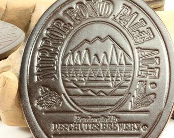 Leather Mirror Pond Pale Ale Beer Coasters - Deschutes Brewery Bend Oregon Northwest Brewery