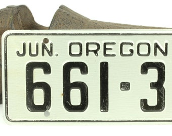 Vintage Black and Silver Bicycle License Plate For Oregon 1953