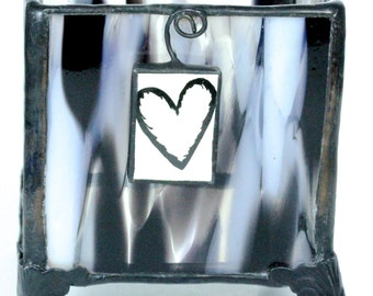 Zebra Glass Stained Glass Votive Tea Light Holder