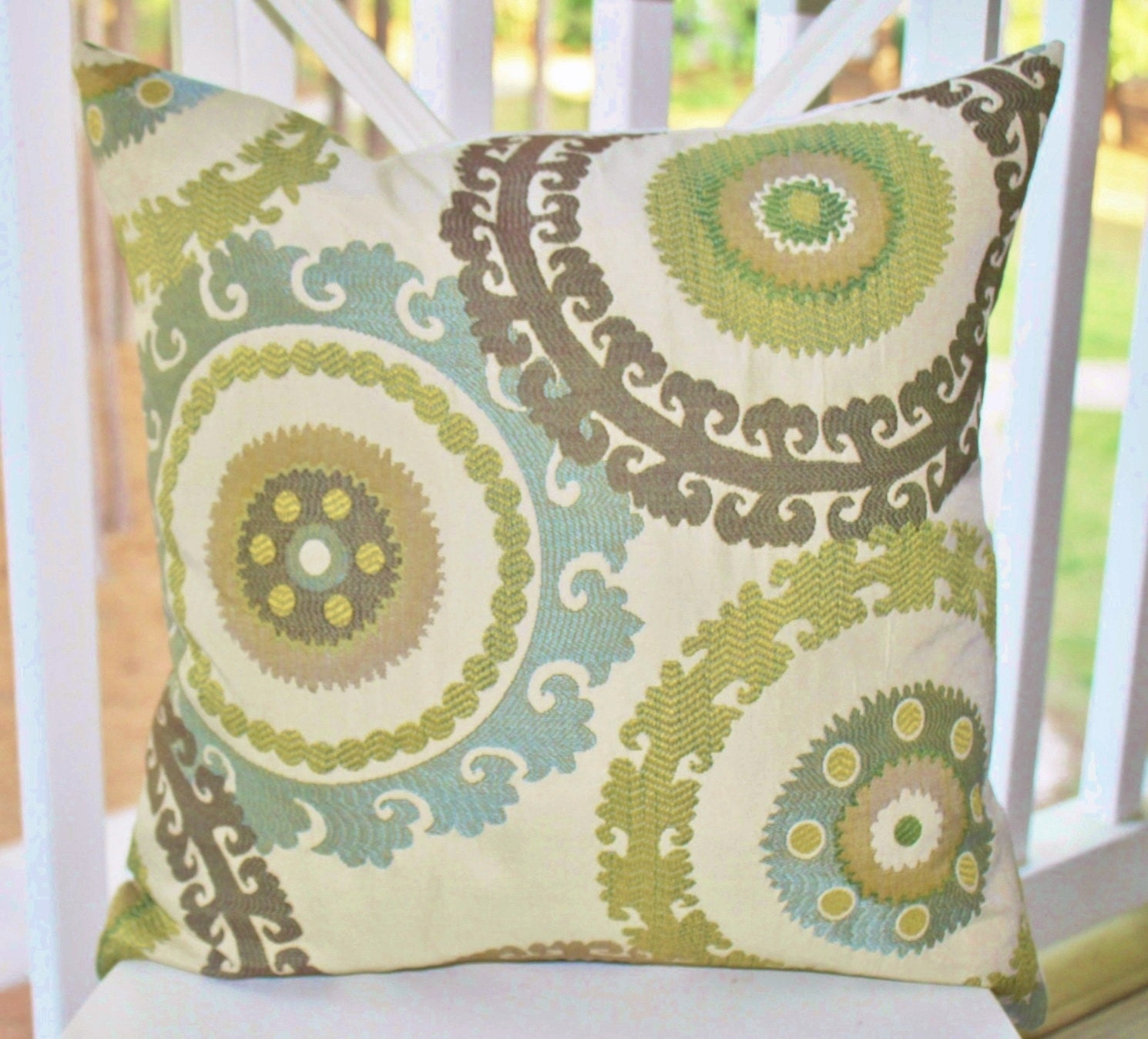 Decorative Pillow Cover Suzani Blue Brown Green Creme