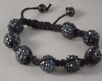 Shamballa Bracelet, Gunmetal Grey Beads, Disco Ball Beads, Plastic Beads, Black Hemp Cord, Slide Knot
