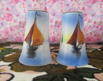 Made In Japan Sailboat Salt And Pepper Shakers