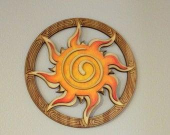 Celtic Spiral Sun - Wood Wall Hanging - brown, yellow, orange, sun rays