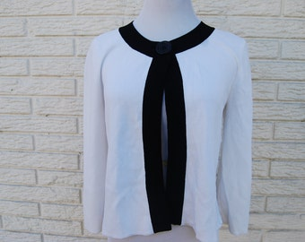 MOD Single Button Cardigan Sweater 60s White and Black Sweater
