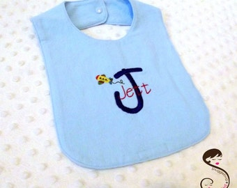 Boys Blue Personalized Bib with Airplane design