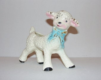 Vintage Porcelain Lamb planter or container for Nursery made in Japan