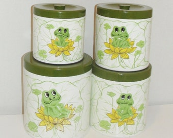 Kitchen Canisters Set of Four Vintage Kitchenware