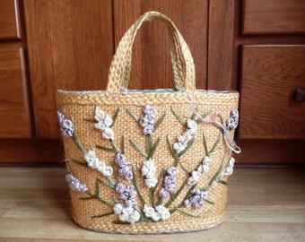 Vintage 60s Summer Floral Regency Straw Tote Purse