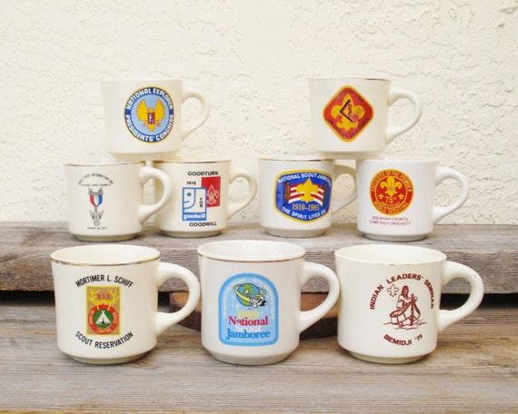 Vintage Boy Scout Mugs Set of Nine 1975 to 1989 Commemorative Boy Scout Mugs, BSA Coffee Mugs, Boy Scout Coffee Mugs, Assorted BSA Mugs NOS