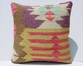"MODERN Bohemian Home Decor,Handwoven Turkish Kelim Pillow Cover 16"" X 16"",Decorative Kilim Pillow,Vintage Kilim Pillow,Throw Pillow"