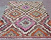 "VINTAGE Turkish Area Rug Kilim Carpet, Handwoven Rug Kilim,Daimond Design,Decorative Rug,Vintage Rug  70,8"" X 92,5"""