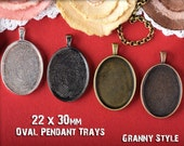 10 Oval Pendant Trays With Glass - 22x30 - Blank Pendant Settings Bezel Cup -  Pendant Base and Glass Pieces
