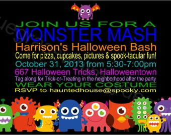 MONSTER Mash Kids Halloween Party Invite- DIY Printable, 4x6 or 5x7