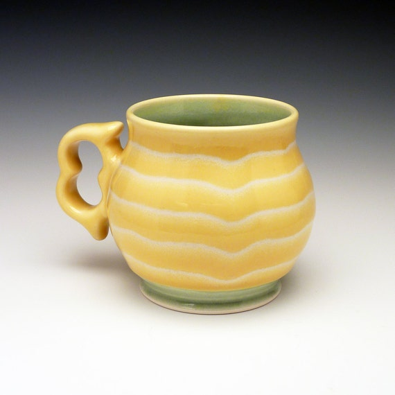 Large Yellow striped coffee cup with ergonomic two finger handle