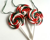 3 Red, White and Green Swirl lollipop Hanging Christmas Ornaments - twistedlollyboutique