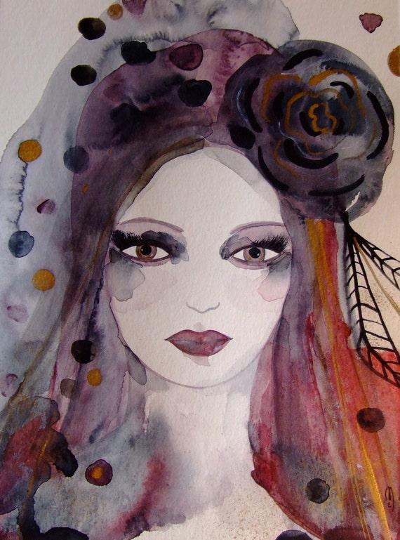 Articles similaires à Portrait Femme Portrait Peinture Portrait Dessin Portrait Aquarelle Encre ...