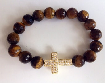 Vermeil gold sideway cross with 12mm tiger eye beads