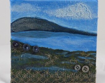 Low Tide Abstract Landscape Textured Painting  Beach Shoreline Upcycled Miniature Art
