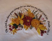 """Embroidered Thanksgiving """"We Are Filled with Joy"""" Linen Tablecloth"""