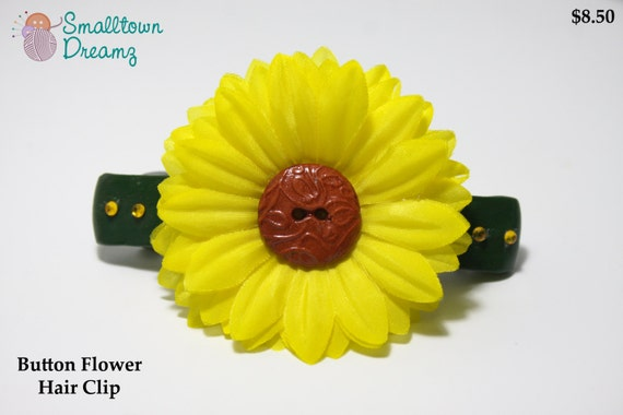 Handmade Yellow Polymer Clay  Button Flower Hair Clip