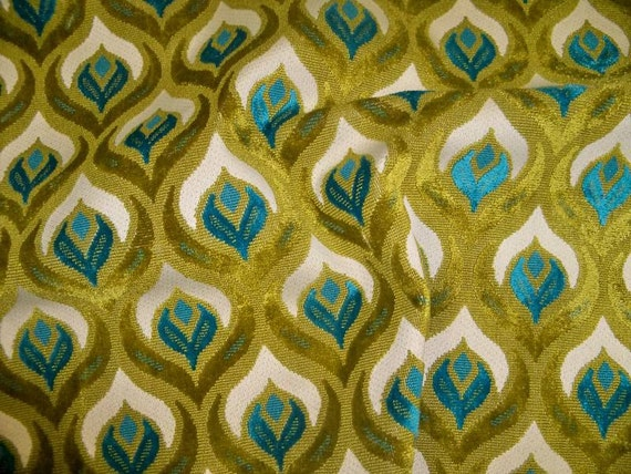 Koplavitch Peacock Cut Velvet Fabric 10 Yards Cream