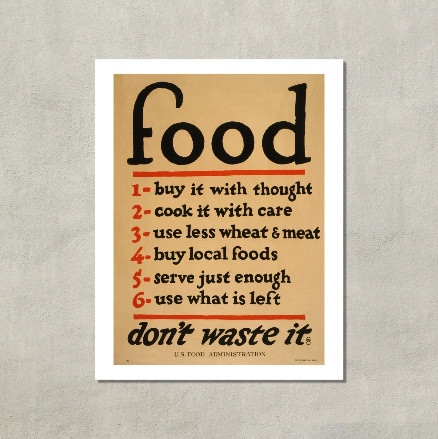 Food Don T Waste It Government Poster 1917 8 5x11