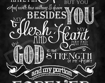 Scripture Art- Psalm 73:25-26 Chalkboard Style