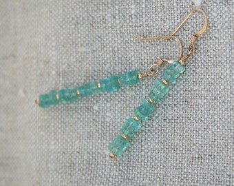 Aqua apatite stack with 14k gold-filled accents on 14k gold-filled ear wires - earrings