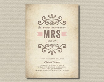 Printable Bridal Shower Invitation - Shower the Bride (BR123)
