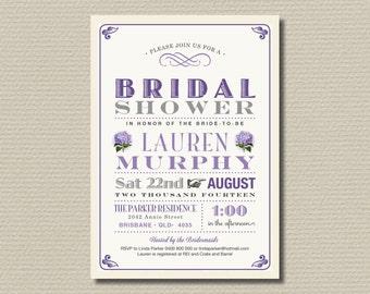 Printable Bridal Shower Invitation - Vintage Hydrangea Bridal Shower Invite  in purple (BR139)