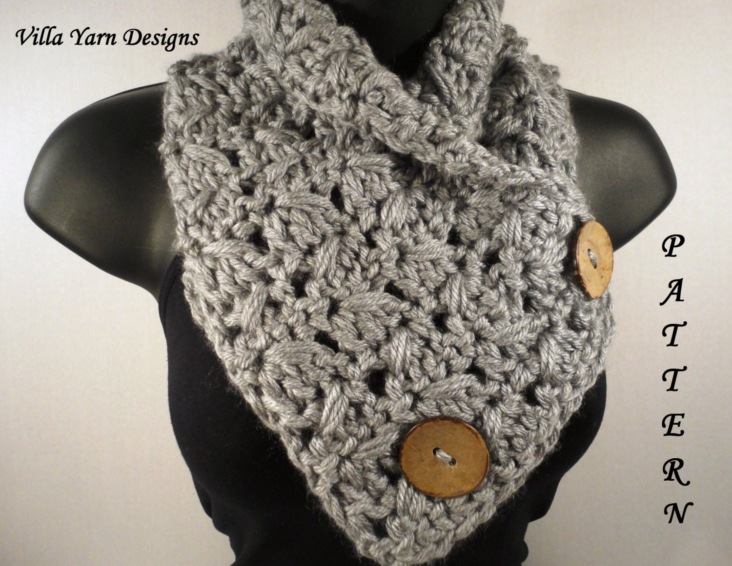 Free Crochet Pattern Button Scarf : Crochet Scarf Pattern Button Scarf Crochet by VillaYarnDesigns