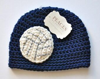 Navy Blue Volleyball Baby Hat ( newborn gift preemie hat newborn costume babyshower newborn beanie baby hats baby beanie )