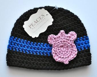 Police Baby Hat -  Police Officer Baby Girl Hat with Pink Badge (newborn gift  preemie hat newborn costume babyshower newborn beanie)