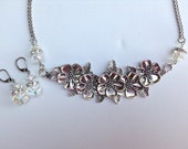 Flower Statement Necklace-Metal-One of a Kind-Hand Made-Designs by Stalinda